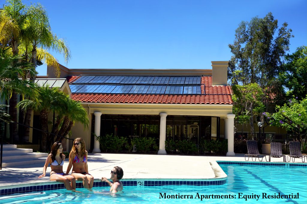 swimming pool heated by solar panels