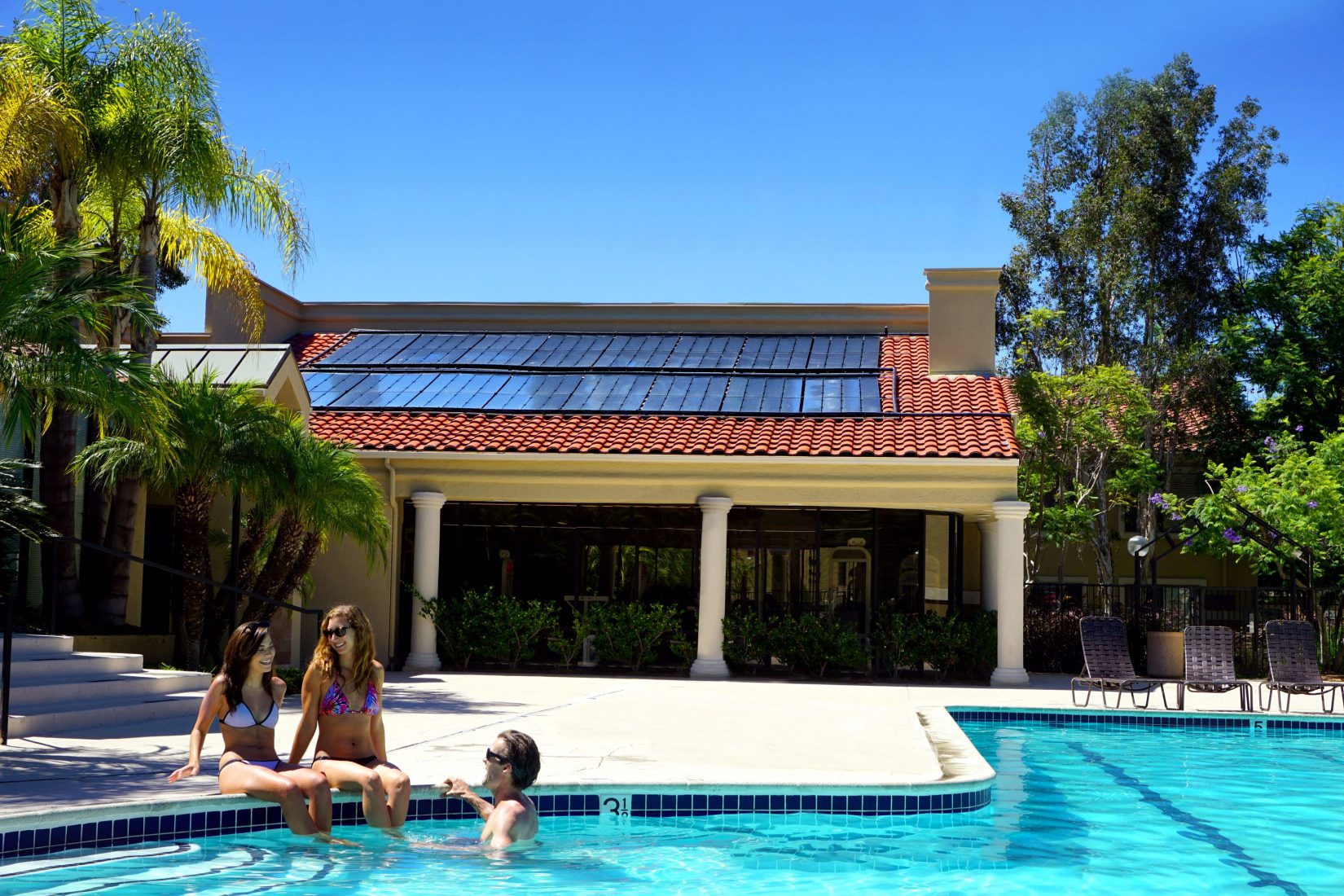 outdoor pool with solar heating