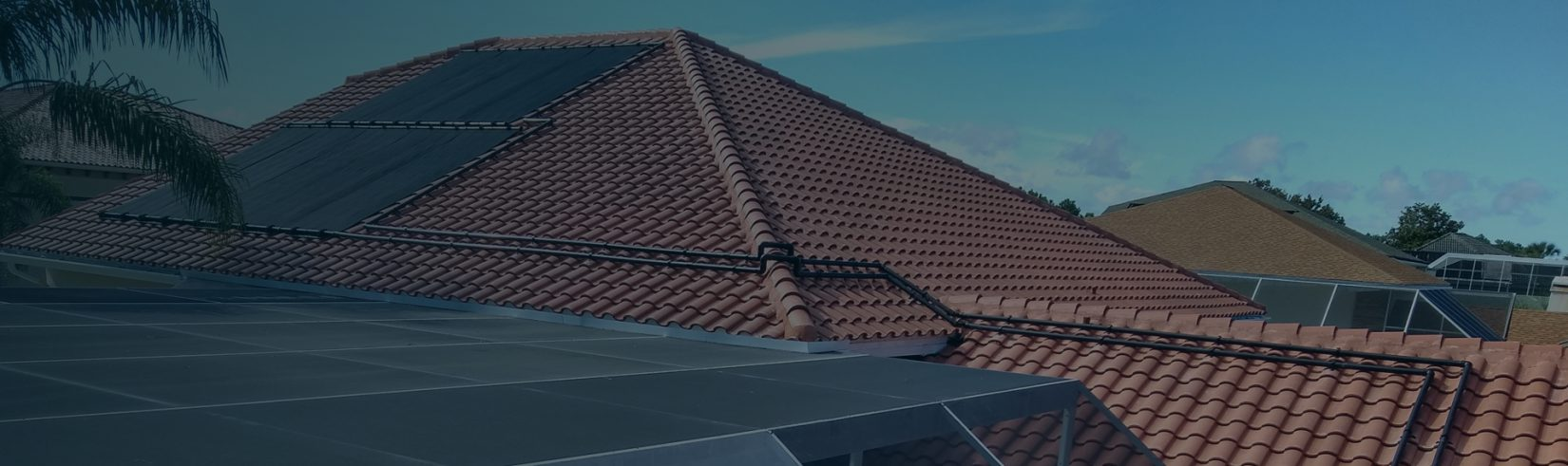 Solar Pool Heater Panels on a Roof