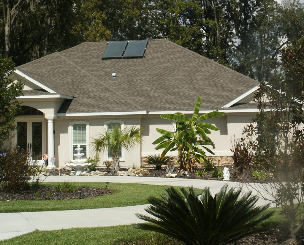 House with solar panels on roof