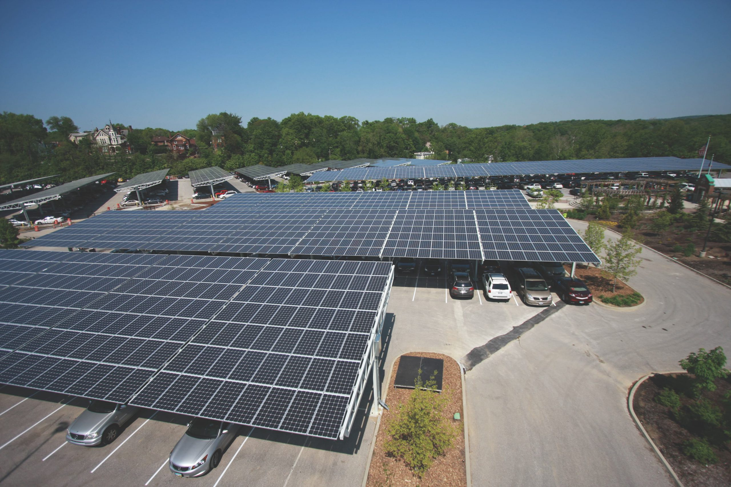 solar panels installed on car parking structures on a sunny day