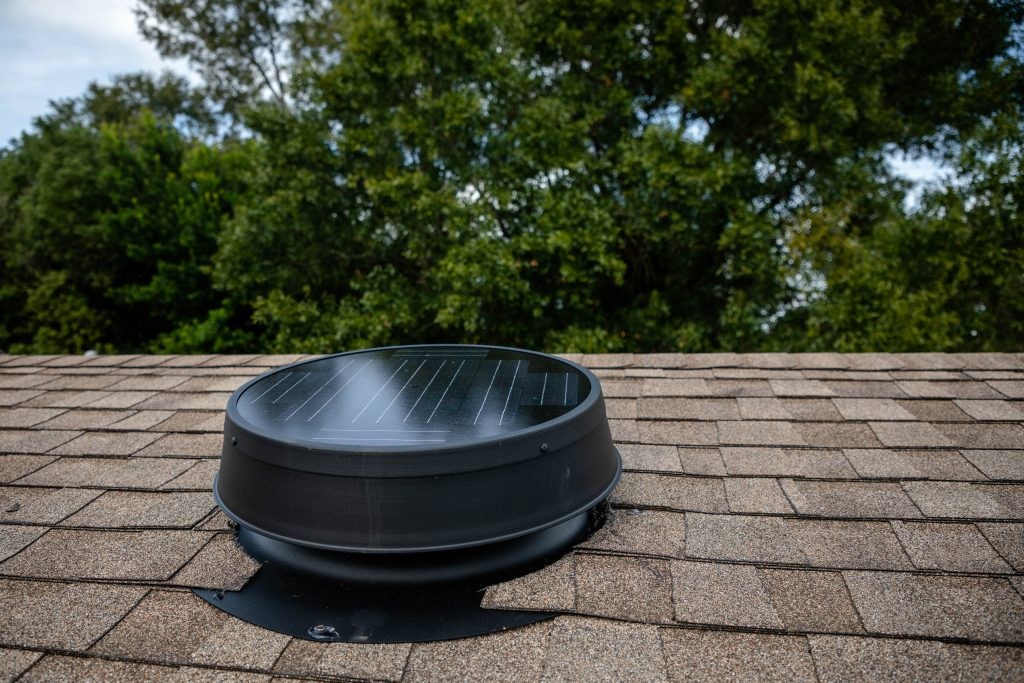 Solar attic fan installed on roof
