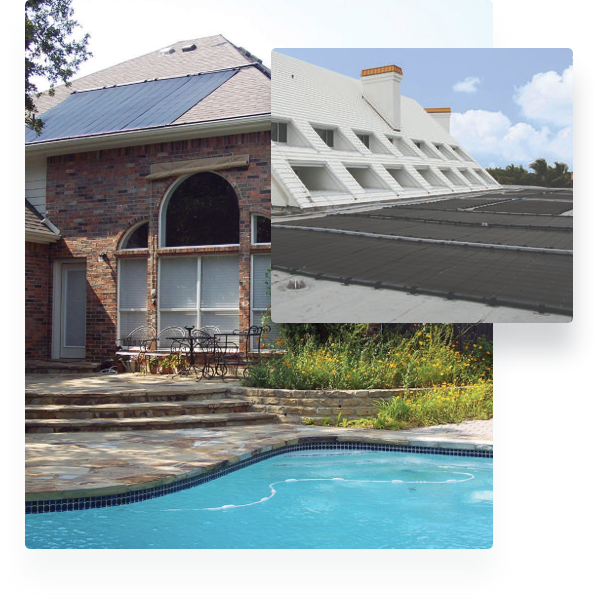 Stacked images of a solar panel installed on a home with a pool beneath an image of solar panels
