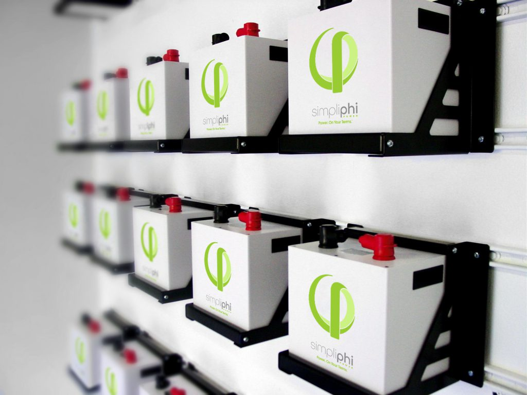 Wall with Simpliphi energy storage batteries